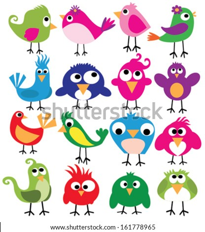 cute birds in vector Cartoon collection with funny little bird family