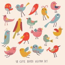 Cute birds in vector. Cartoon set