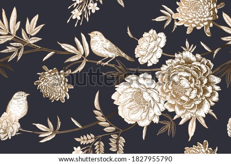 Cute birds on the branches of a tree. Floral seamless pattern. Garden flowers and leaves. Gold foil stamp, black and white. Peonies, chrysanthemums, jasmine and roses. Vector illustration. Vintage