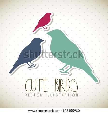 cute birds over beige background, vintage. vector illustration