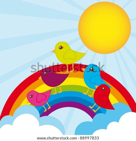 cute birds over rainbow background. vector illustration - stock vector