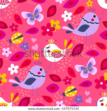 Cute birds seamless pattern with little flowers and butterfly, ladybug on a pink background.