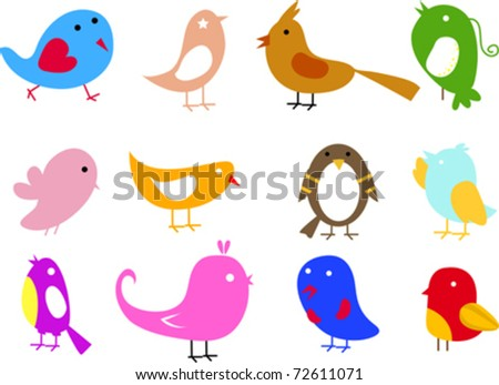 cute birds set