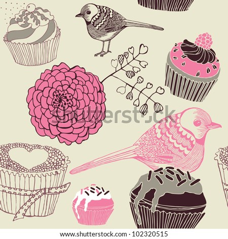 cute birds with assorted cakes and fruits