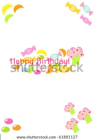 stock vector : Cute birthday card for child with many c