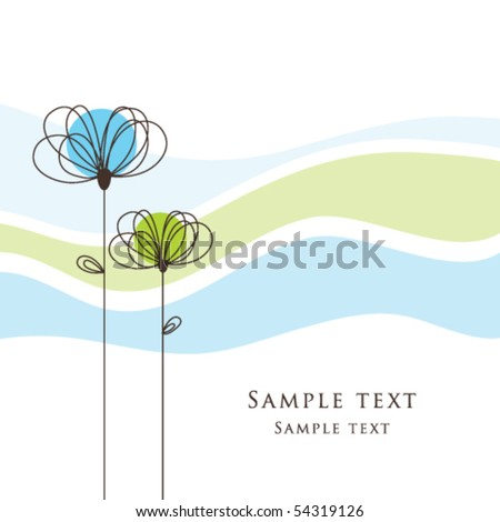 Cute Birthday card - Greeting card with flowers and stylish stripe background Simple unique design for greeting card, birthday, scrapbook, wedding, mother's day, Easter greetings, baby shower - stock vector