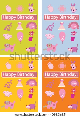 Cute Birthday Cards Templates. Vector - 40983685 : Shut