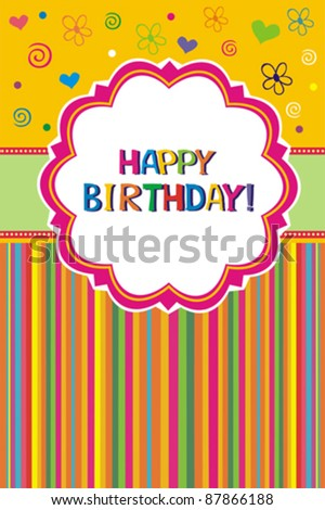 Cute Birthday Label. Retro Greeting Card Template Desig
