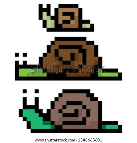 cute 8 bit three green snails