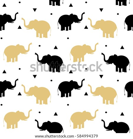 cute black and gold elephants seamless vector pattern background illustration