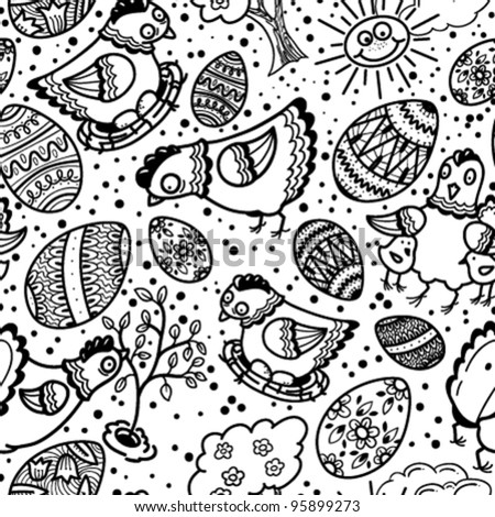 Cute black and white easter seamless pattern
