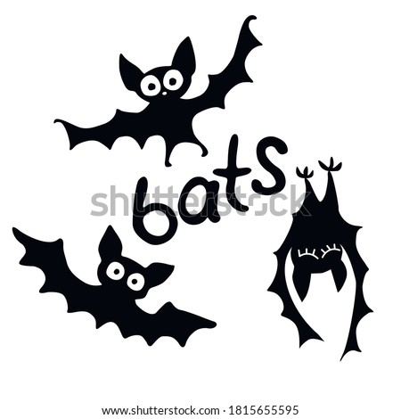 Cute black bats drawn in cartoon flat style. Vector black silhouette illustration isolated on white background. For halloween design, greeting card Сток-фото ©
