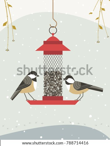 Cute black capped chickadee bird poster. Comic flat cartoon. Minimalism simplicity design. Winter birds feeding by sunflower seeds in feeder. Template birdwatching card background. Vector illustration