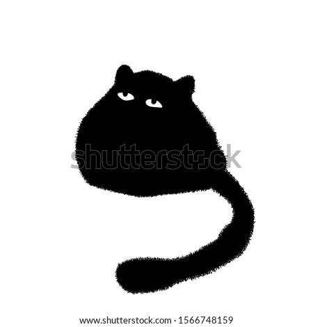 cute black cat fat cat poses