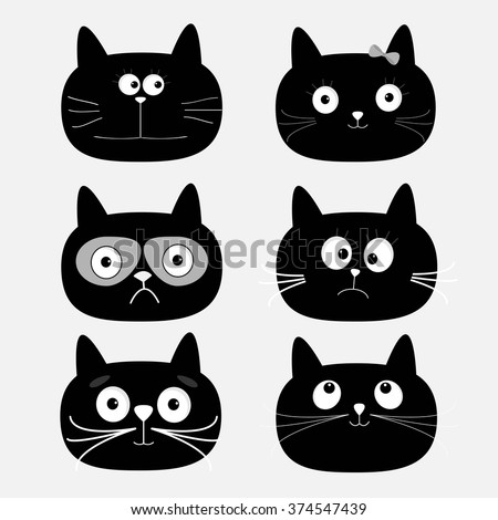 cute black cat head set funny