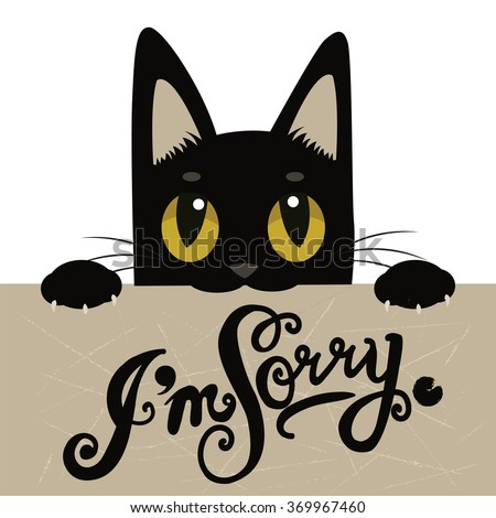 cute black cat holding a