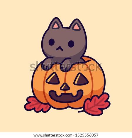 cute black cat in carved