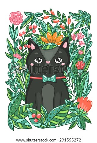 cute black cat in the flowers