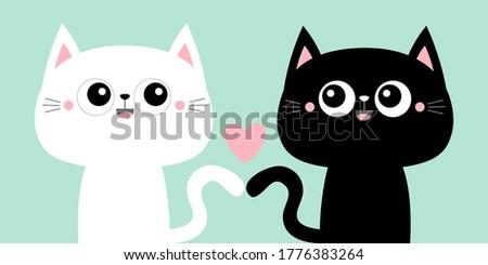 cute black cat kitty kitten set