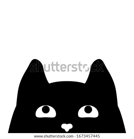 Cute black cat's head. Cat's face that spy on you. Vector illustration Stock photo ©