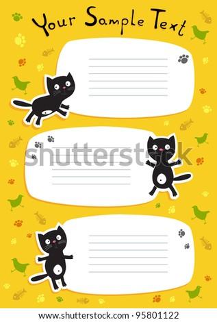 Cute black cat. Schedule. Vector illustration
