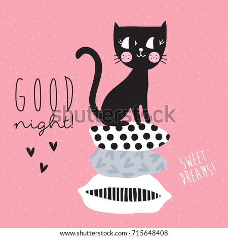 cute black cat siting on top of cushions vector illustration