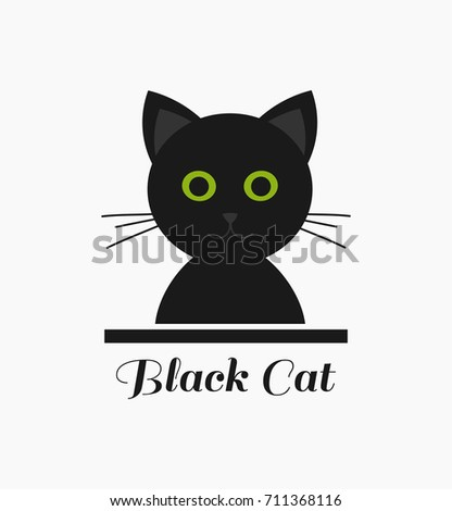 Cute Black Cat With Green Eyes Vector Illustration Ez Canvas