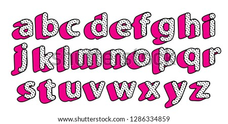 Cute black dots 3D English alphabet little letters set. Vector girly style. Happy birthday text with hot pink shadow. Font design for girls name. Picture for birth invite card