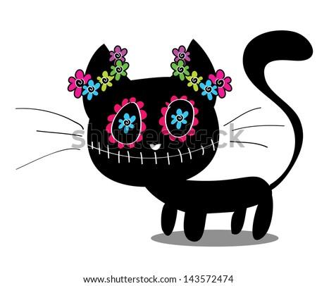 cute black kitten decorated
