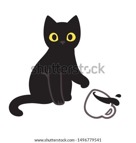 cute black kitten throwing