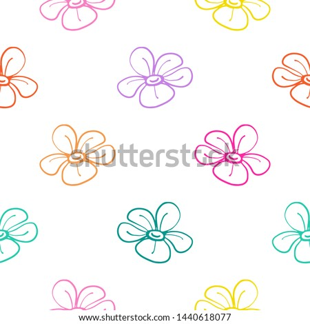 Cute black line seamless pattern with simple flower. Simple doodle hand drawn art. Vector linear design on white background.