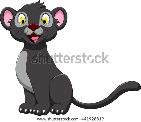 cute black panther posing