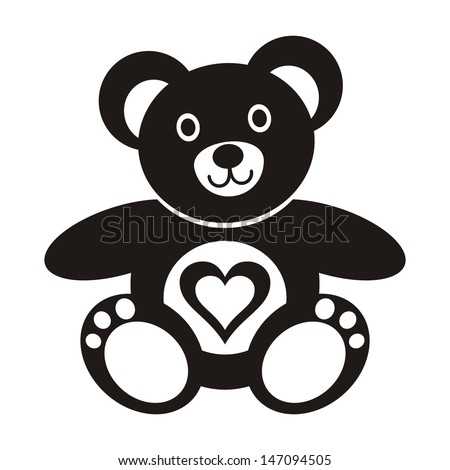 cute black teddy bear icon with