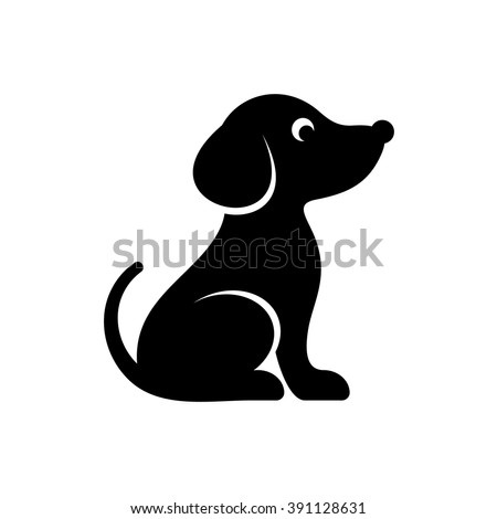 Cute black vector dog icon isolated on white