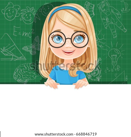 cute blond girl in glasses