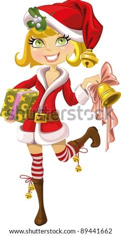 cute blond girl in santa suit