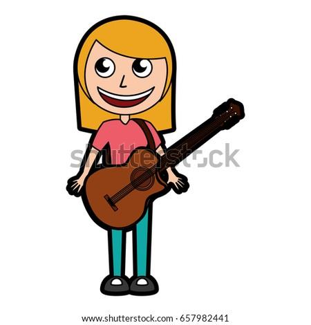 cute blond women guitar cartoon