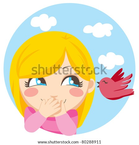 Cute blonde girl surprised of the secret a little bird is whispering her