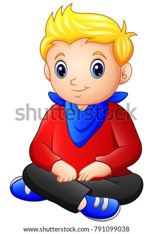 cute blonde haired boy sitting