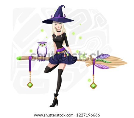 cute blonde witch sit on flying