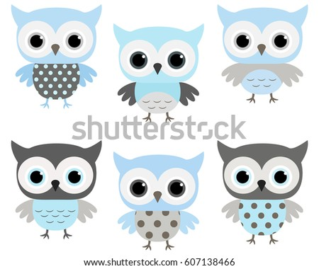 Owl baby shower cards download free vector art stock graphics cute blue and grey vector owls set for baby showers birthdays invites greeting stopboris Choice Image