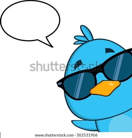 cute blue bird with sunglasses