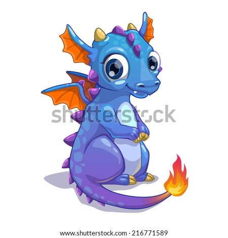 cute blue cartoon dragon with