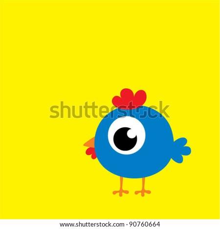 cute blue chicken