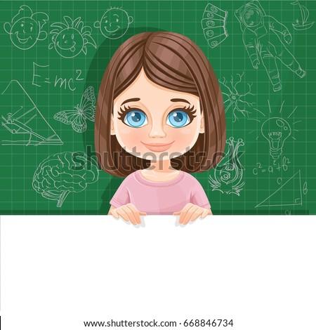 cute blue eyed brunette girl in