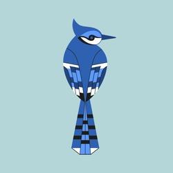 Cute Blue Jay bird icon. Sitting animal sign. Minimal flat geometric style winter birds of woodland, backyard. Birdwatching element design idea. Scavenging card background. Vector illustration