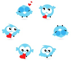 Cute blue twitter birds with red hearts isolated on white