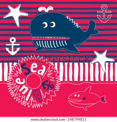 cute blue whale cartoon vector