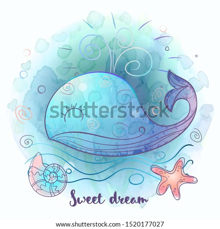 Cute blue whale. Watercolor.  Vector illustration.