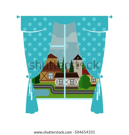 cute blue window curtain with